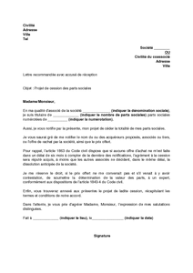Exemple Gratuit De Lettre Notification Projet Cession Parts