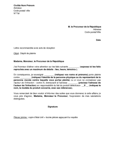 Lettre De Plainte En Responsabilité Du Fait D Un Produit