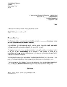 Lettre de plainte pour revente perte aupr s de la dgccrf mod le de lettre gratuit exemple - Lettre de plainte pour nuisances sonores ...