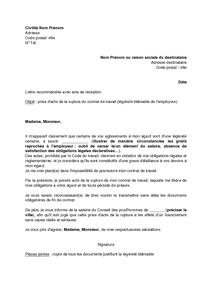 Lettre De Prise D Acte De La Rupture Du Contrat De Travail