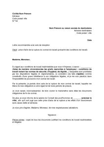 Exemple Gratuit De Lettre Prise Acte Rupture Contrat Travail