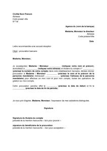 Lettre De Procuration Temporaire Pour La Gestion D Un Compte Bancaire Modele De Lettre Gratuit Exemple De Lettre Type Documentissime