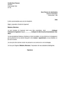 Lettre De Proposition D Achat Du Logement Par Le Locataire Au