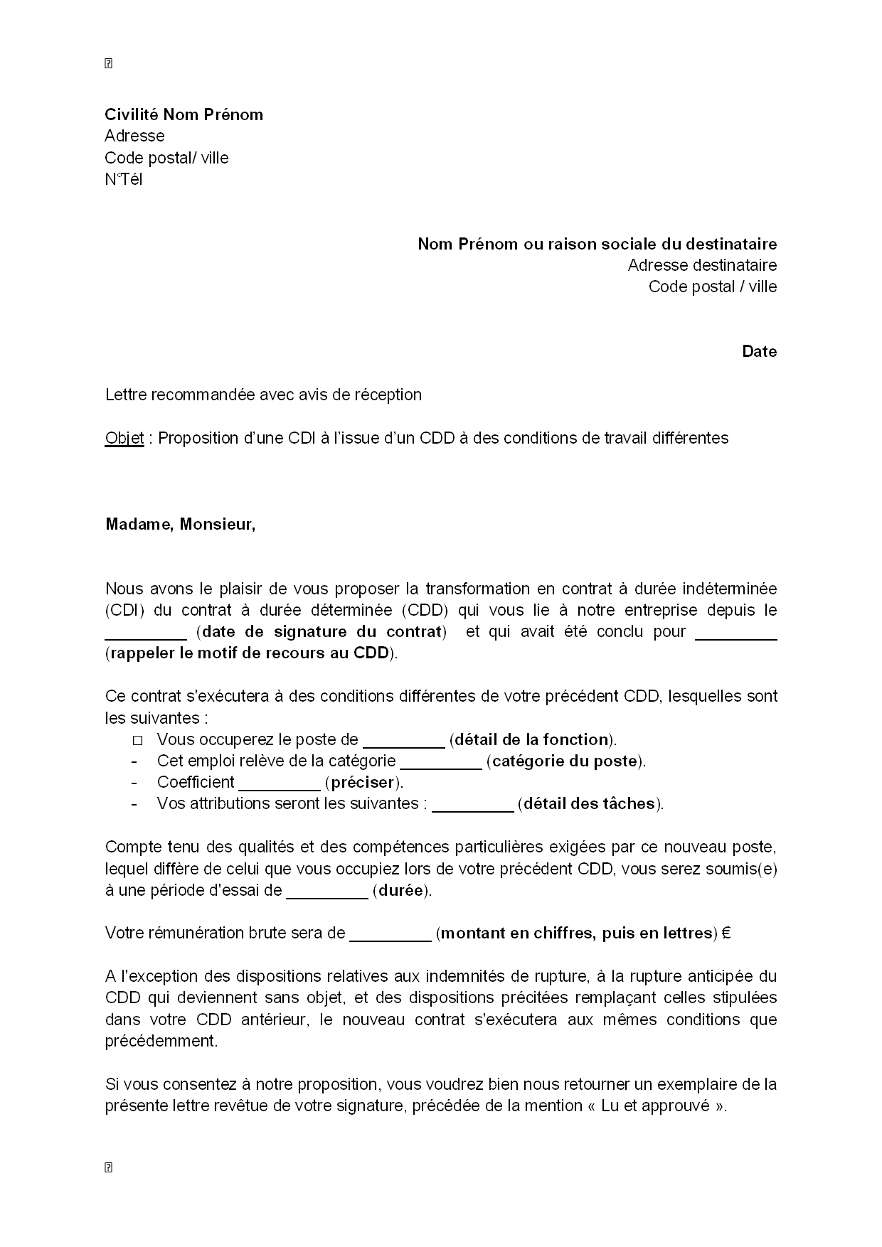 Lettre De Proposition D Un Cdi A L Issue D Un Cdd A Des Conditions