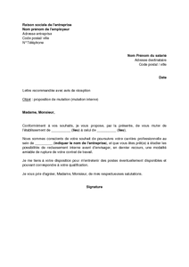 exemple lettre de motivation pour un poste en interne