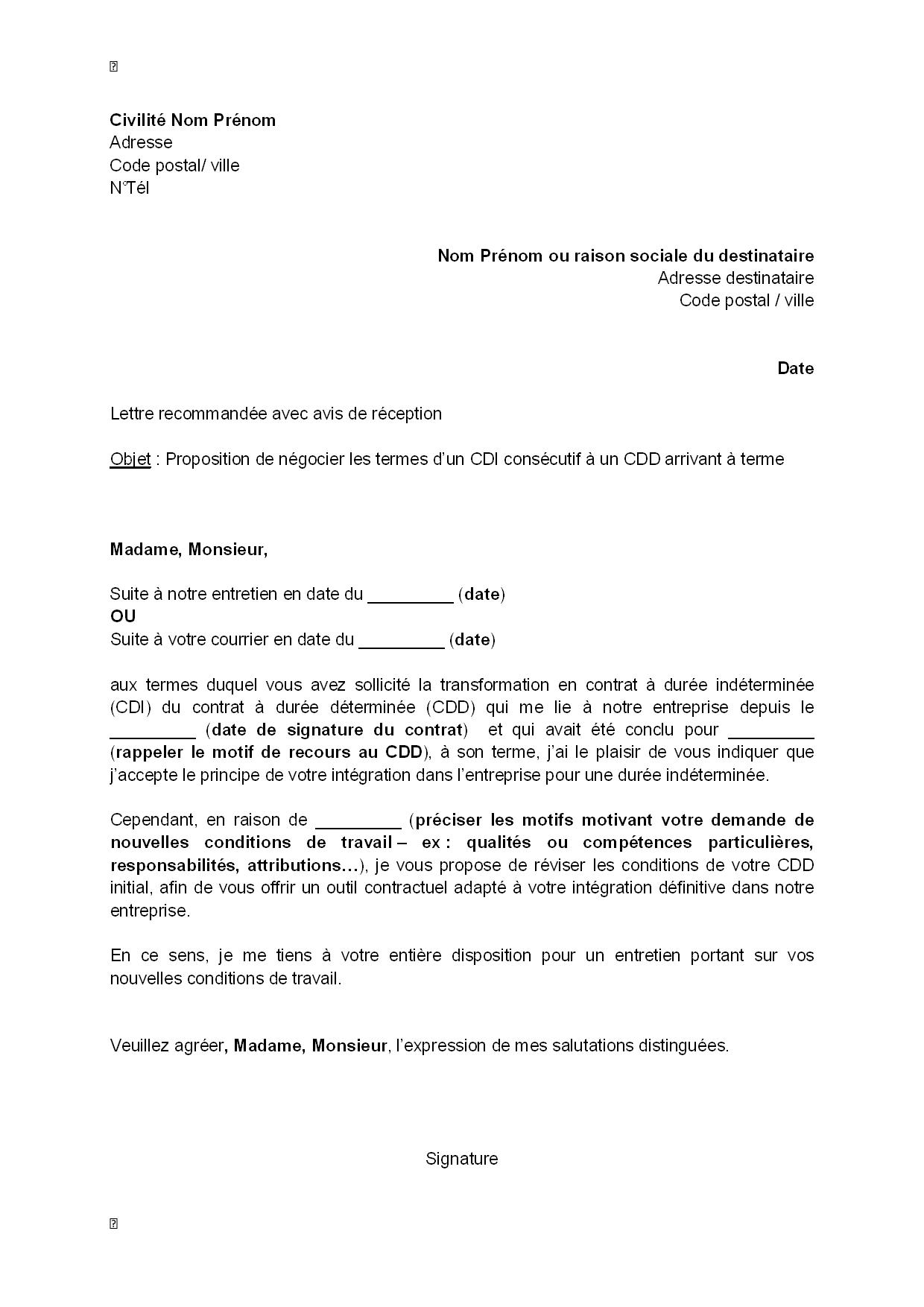 Lettre De Proposition De Négocier Les Termes Du Cdi Demandé