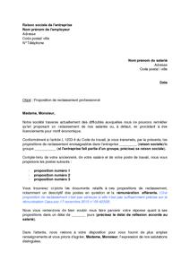 08bcd873b56 Lettre de proposition de reclassement au salarié   procédure de licenciement  économique - modèle de lettre gratuit