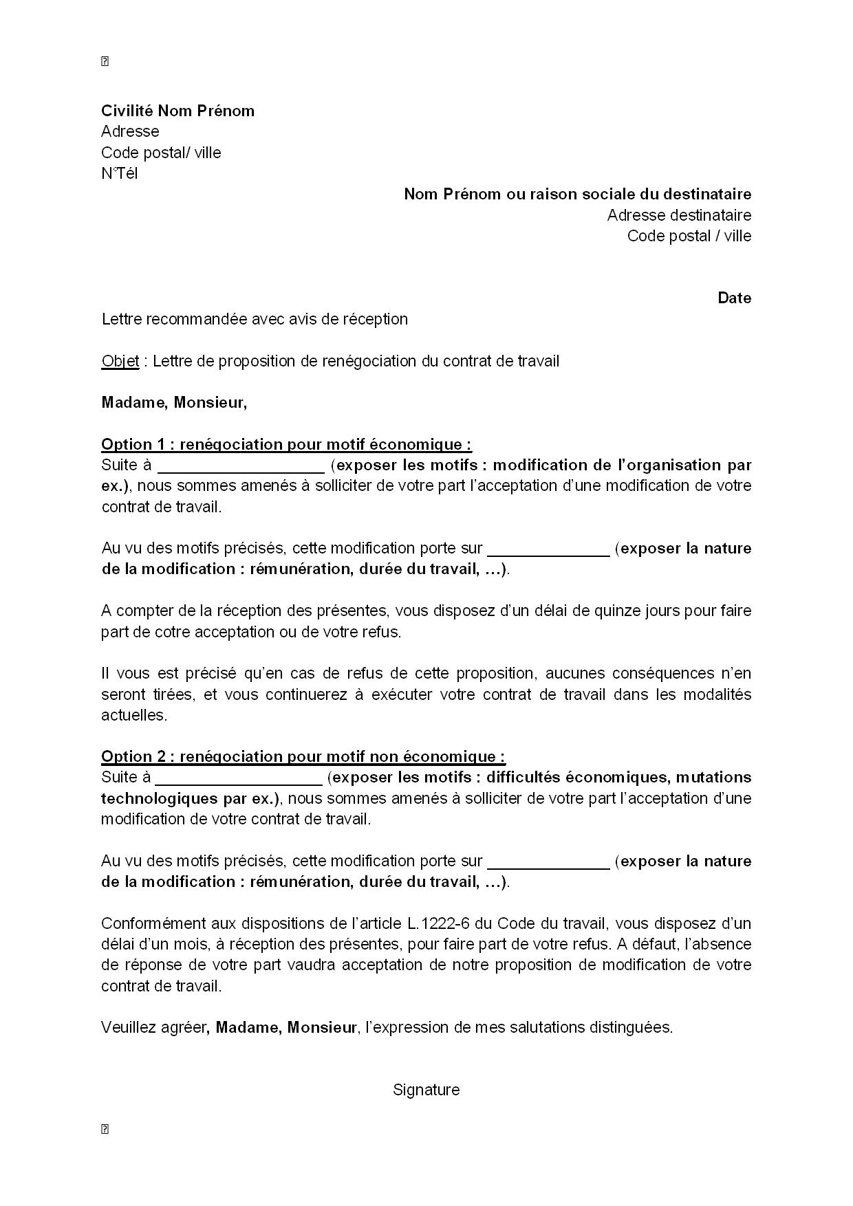 Lettre De Proposition De Renegociation Du Contrat De Travail Par L