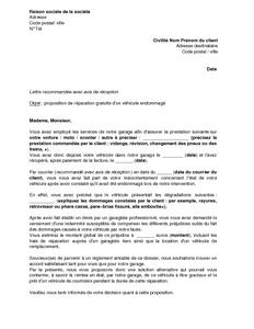 lettre de proposition de r paration gratuite par le garagiste responsable de la d t rioration d. Black Bedroom Furniture Sets. Home Design Ideas