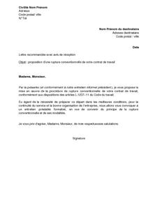 Lettre de proposition, par l\u0027employeur, de la rupture