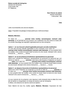 Lettre De Proposition Par L Employeur De Passage A Temps Partiel