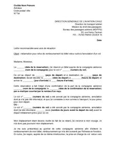 Lettre De Reclamation A La Dgac Pour Refus De Prise En Charge D Un