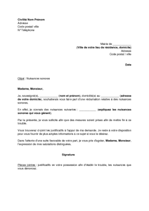 Lettre De Réclamation à La Mairie Concernant Des Nuisances