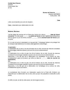 Lettre de réclamation à La Poste pour détérioration d'un ...
