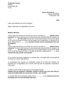Lettre De Reclamation A La Poste Pour Deterioration D Un Envoi Recommande Modele De Lettre Gratuit Exemple De Lettre Type Documentissime