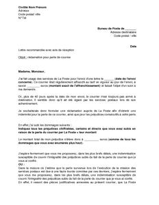 Lettre de r clamation la poste pour perte d 39 un courrier en suivi mod - Reclamation reexpedition courrier ...