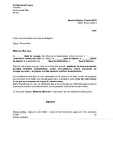 Lettre De Réclamation Au Service Client De La Sncf Modèle
