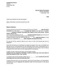 Lettre De Réclamation Auprès De Chronopost Pour Perte Ou Non