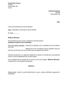 Lettre De Réclamation Concernant Le Service Clientèle Du