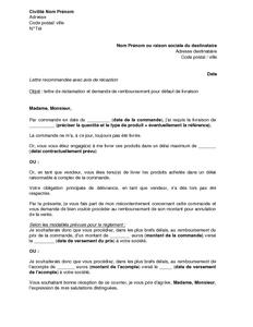 Exemple Gratuit De Lettre Réclamation Et Demande