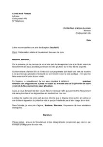 Exemple Gratuit De Lettre Réclamation Mauvais état Gouttière