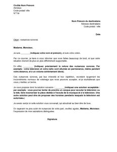 Lettre De Réclamation Pour Nuisances Sonores Du Fait Du