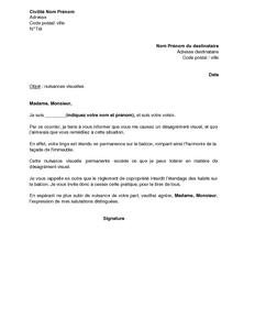 Lettre De Réclamation Pour Nuisances Visuelles Du Fait Du