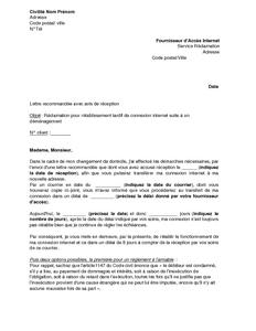 Lettre De Réclamation Pour Rétablissement Tardif De