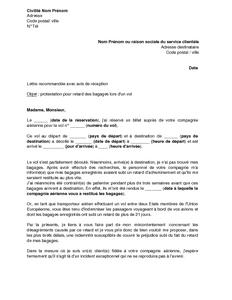 Lettre De Reclamation Pour Retard Des Bagages Lors D Un Vol Entre