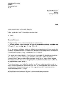 Exemple Gratuit De Lettre Réclamation Suite à Coupure