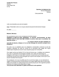 Exemple gratuit de lettre r clamation suite coupure abusive ou mauvais fo - Reclamation reexpedition courrier ...