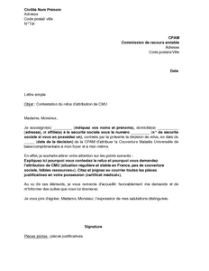 Lettre De Recours Devant La Commission De Recours Amiable