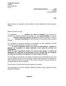 Lettre De Recours Devant Le Tribunal Administratif Contre Le Refus