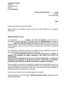 Exemple Gratuit De Lettre Recours Devant Tribunal Administratif Contre Refus Attribution Un Logement Universitaire
