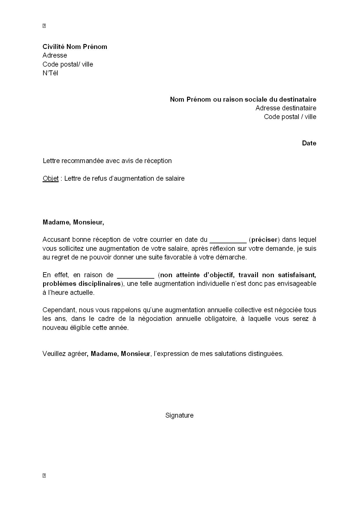 lettre de refus d u0026 39 augmentation de salaire par l u0026 39 employeur