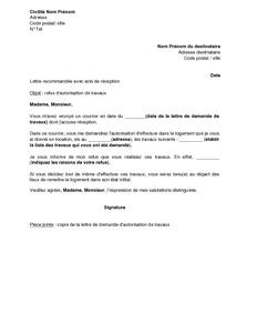 Exemple Gratuit De Lettre Refus Autorisation Travaux Par