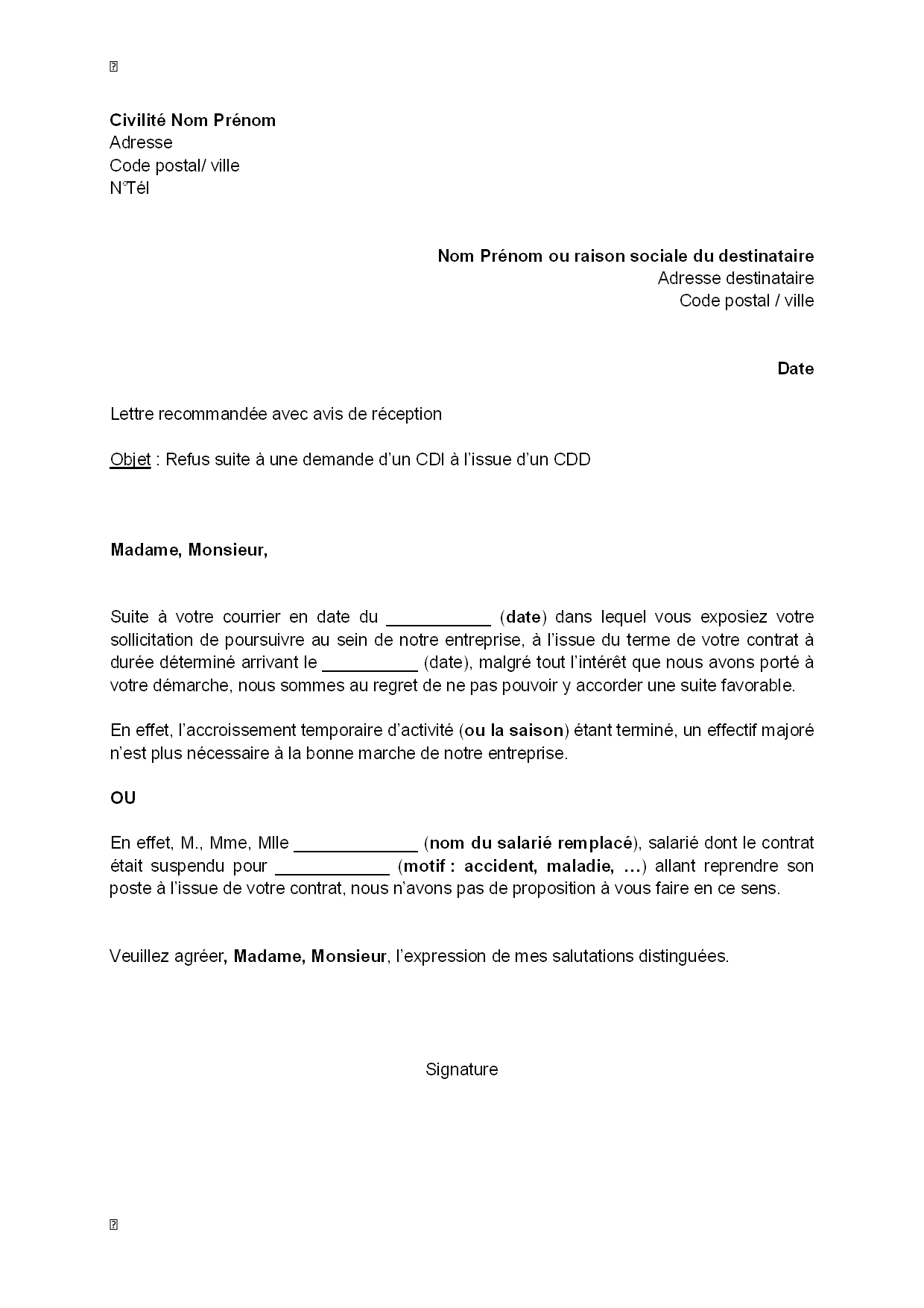 exemple gratuit de lettre refus offre un cdi par employeur  u00e0 issue un cdd