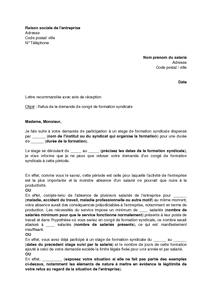 Exemple Gratuit De Lettre Refus Une Demande Conge Formation