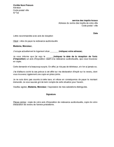 Lettre De Refus De Payer La Redevance Audiovisuelle En Raison De L