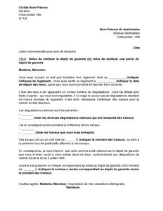 Lettre De Refus De Restituer Tout Ou Partie Du Depot De Garantie