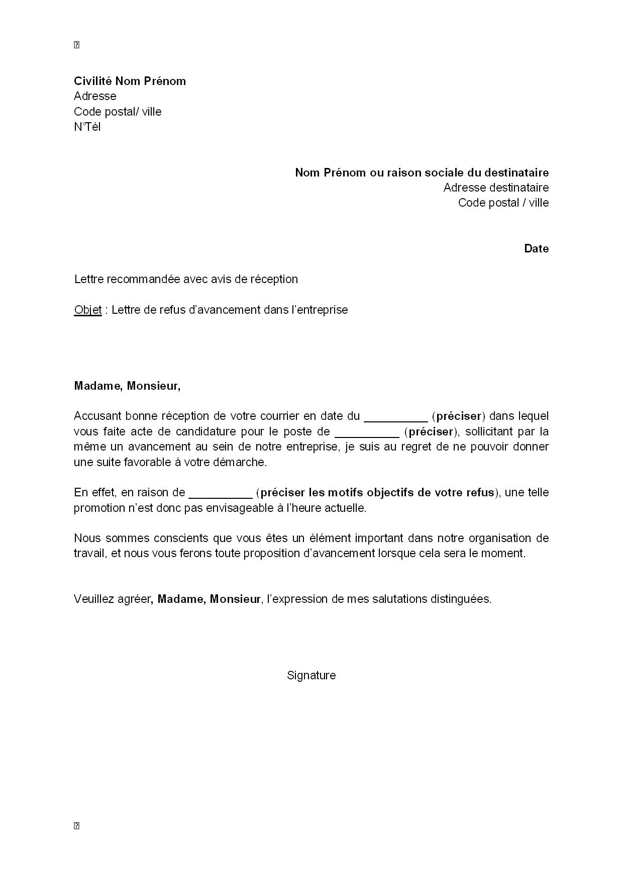 exemple gratuit de lettre refus  par employeur  avancement