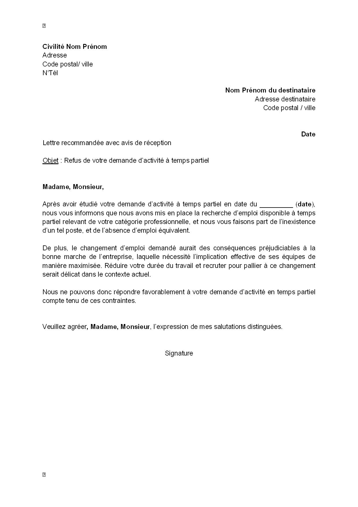 lettre de refus  par l u0026 39 employeur  de la demande d u0026 39 activit u00e9  u00e0 temps partiel du salari u00e9