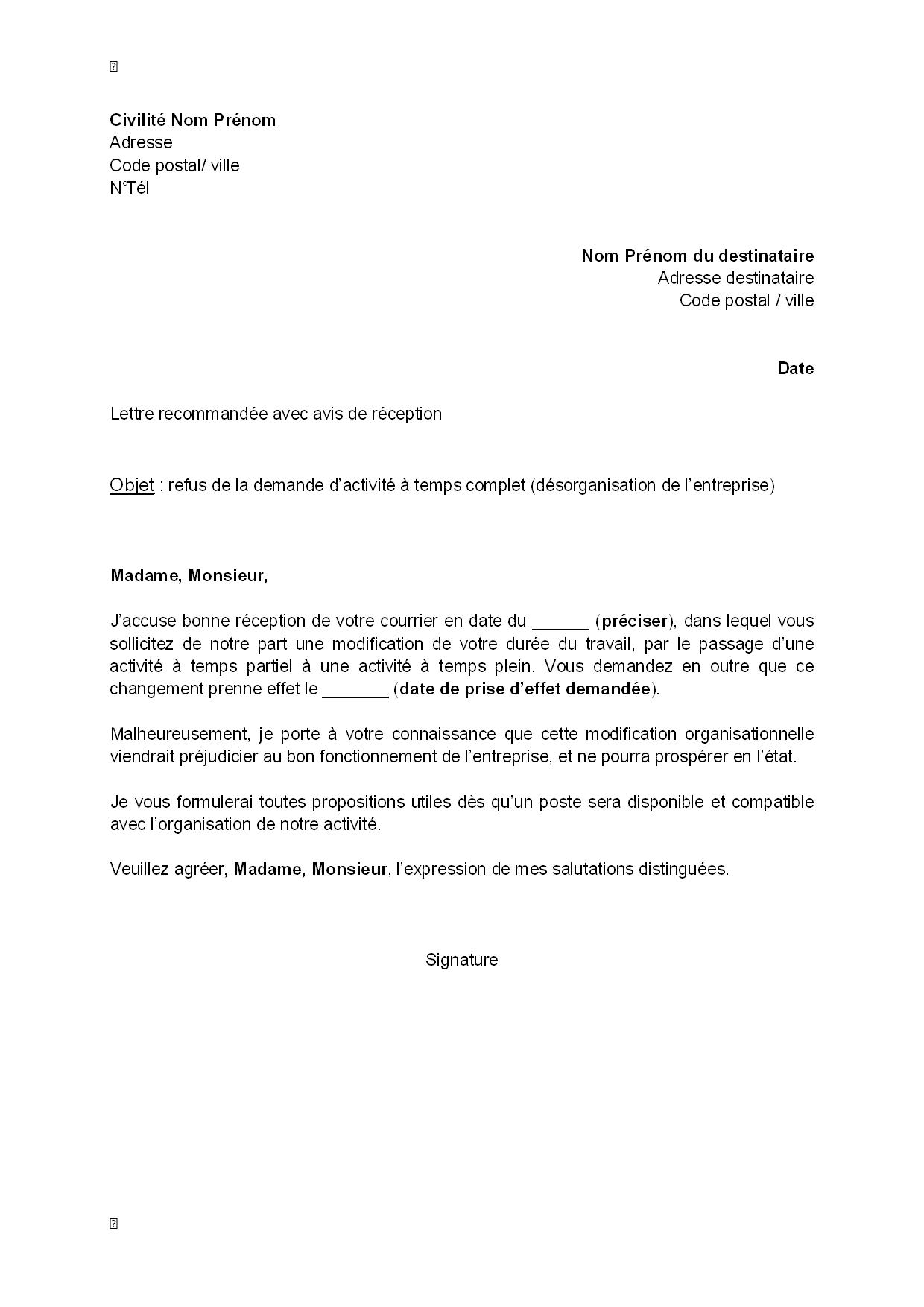 lettre de refus  par l u0026 39 employeur  de la demande d u0026 39 activit u00e9
