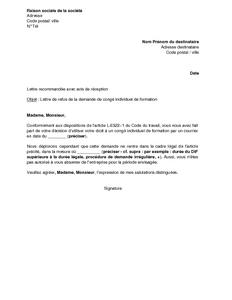 lettre de refus par l 39 employeur de la demande de cong individuel de formation mod le de. Black Bedroom Furniture Sets. Home Design Ideas