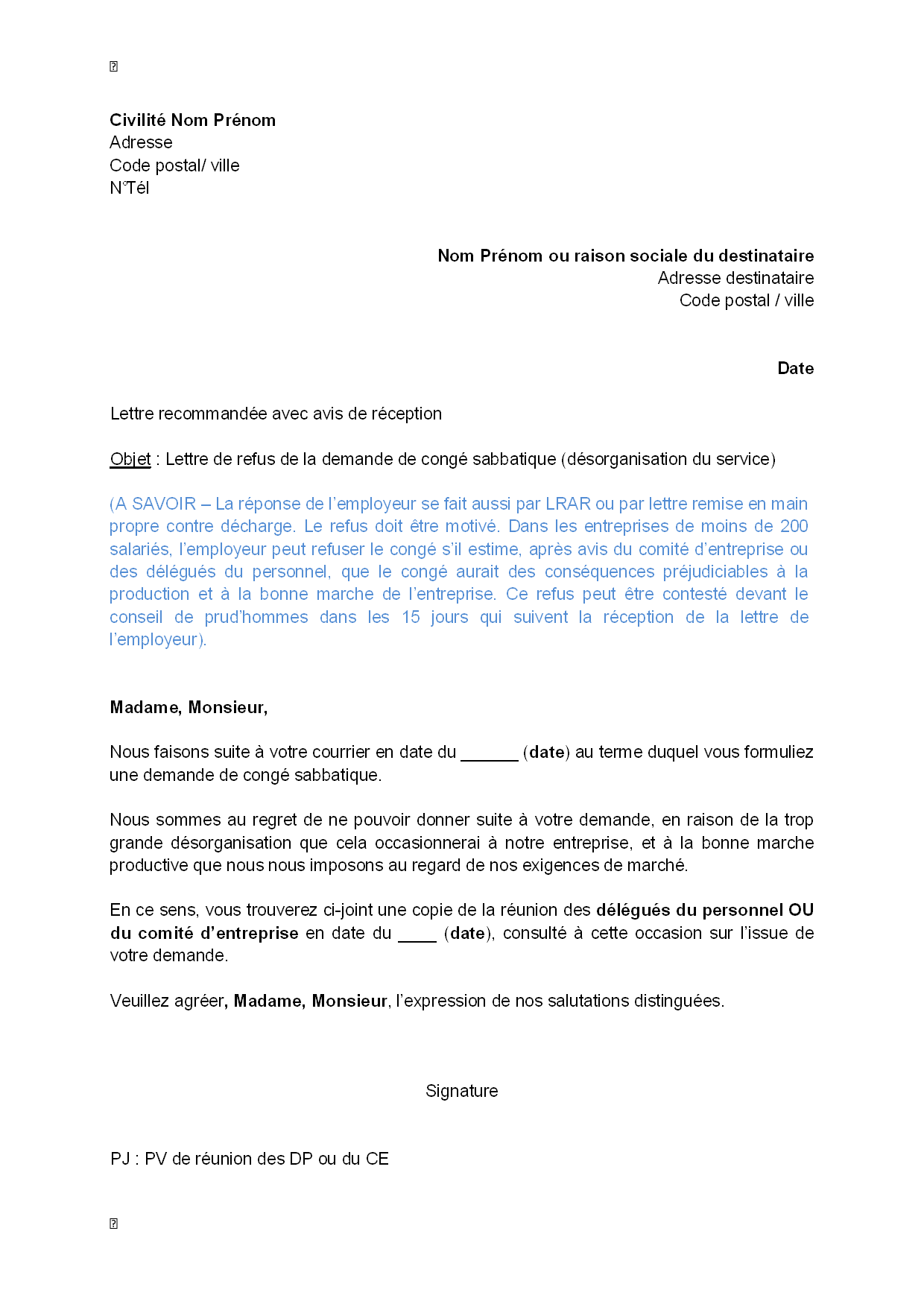 exemple gratuit de lettre refus  par employeur  demande cong u00e9 sabbatique   d u00e9sorganisation service