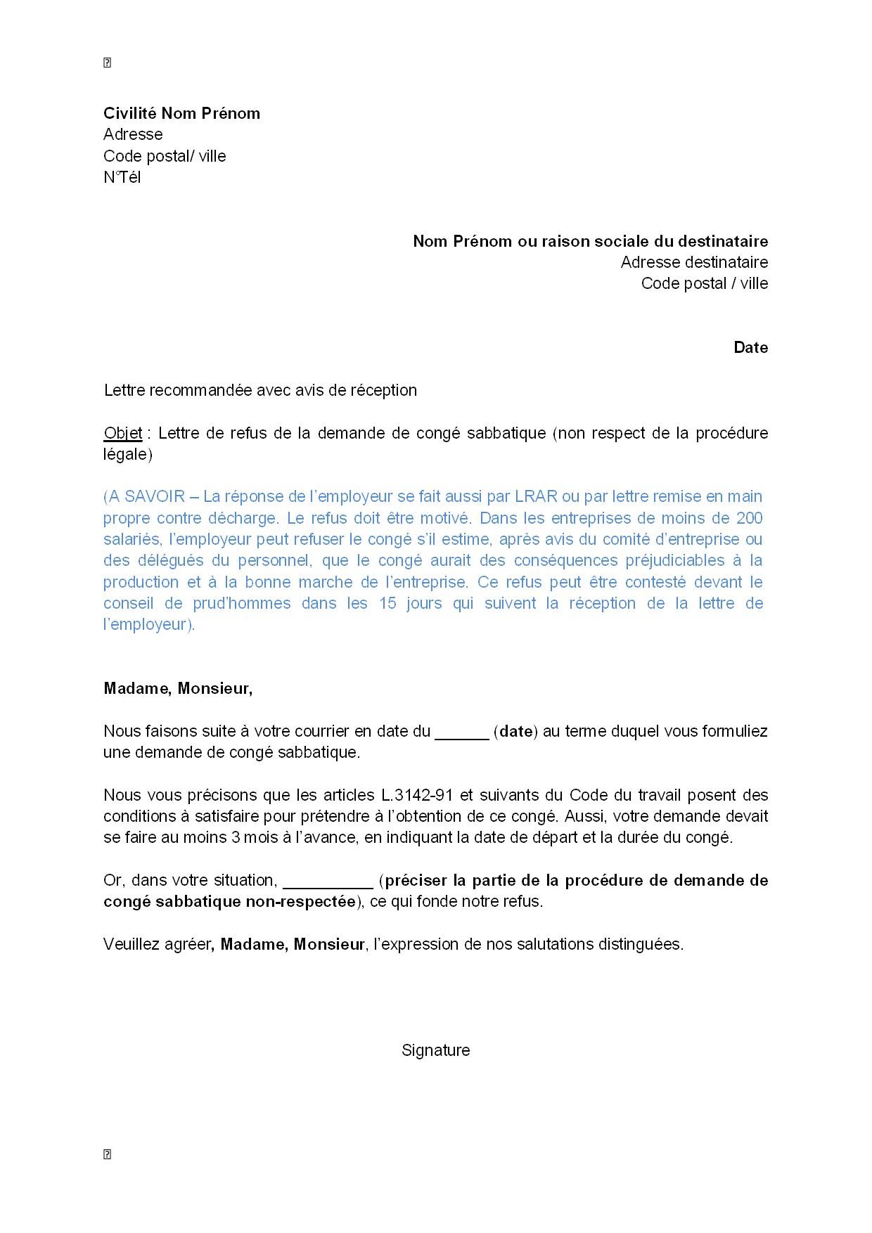 modele de lettre remise en main propre contre décharge Exemple gratuit de Lettre refus, par employeur, demande congé  modele de lettre remise en main propre contre décharge