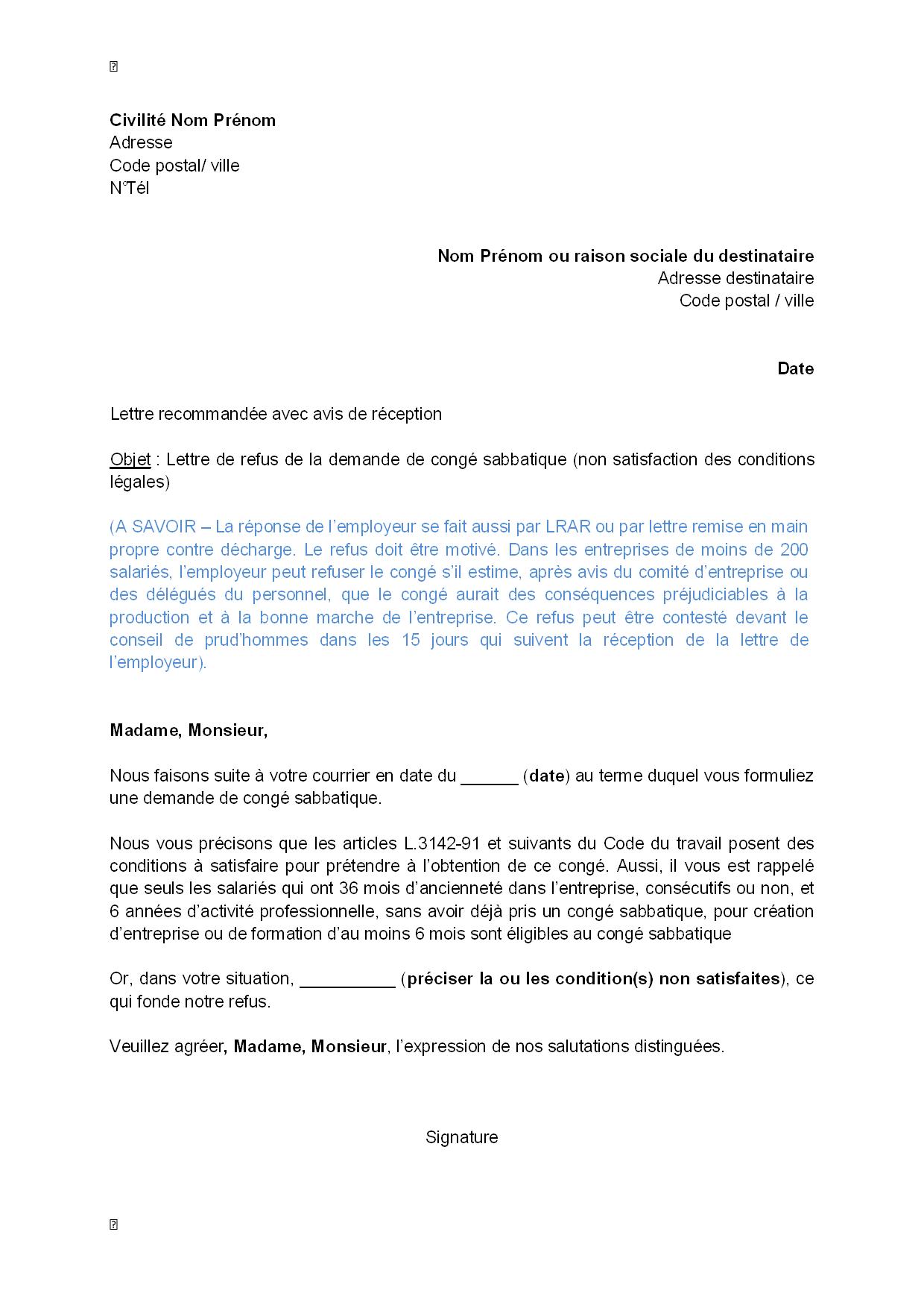 Exemple Gratuit De Lettre Refus Par Employeur Demande Conge Sabbatique Non Satisfaction Conditions Legales