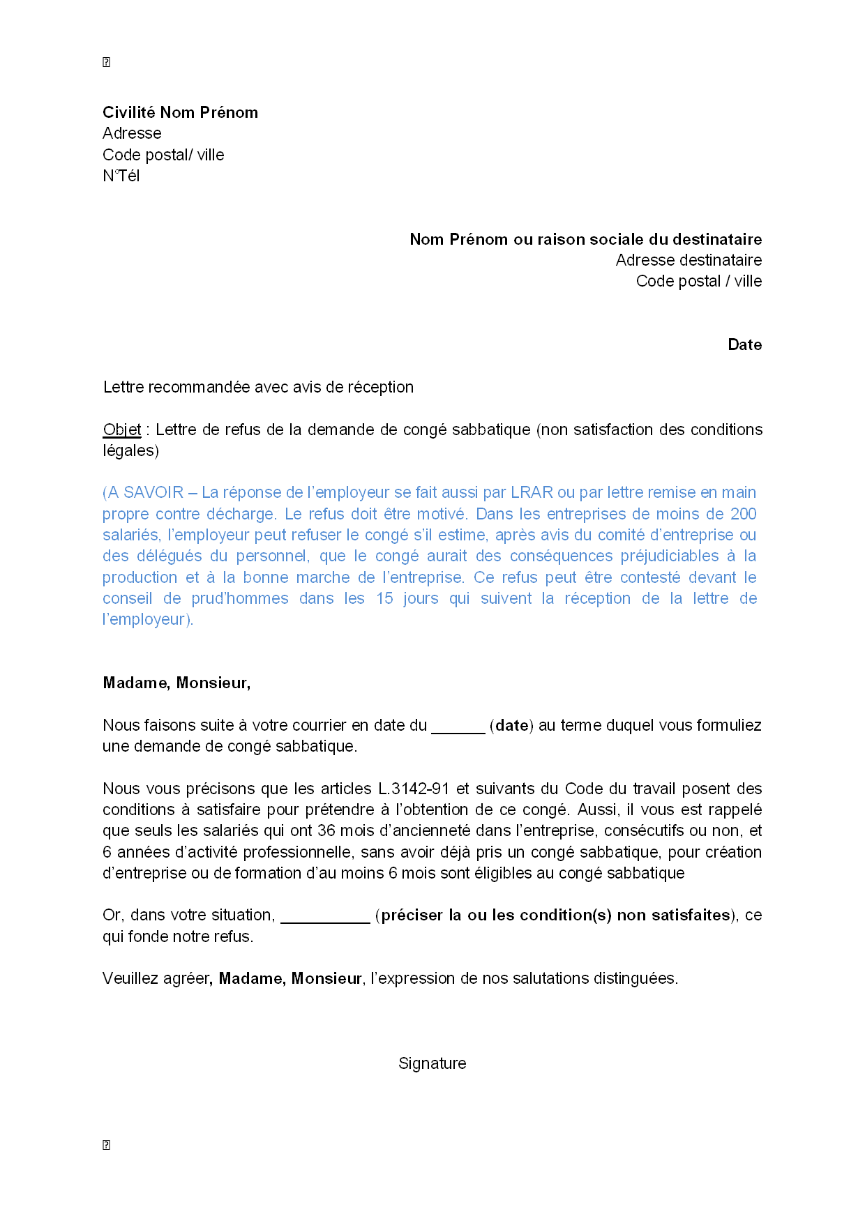 lettre de satisfaction