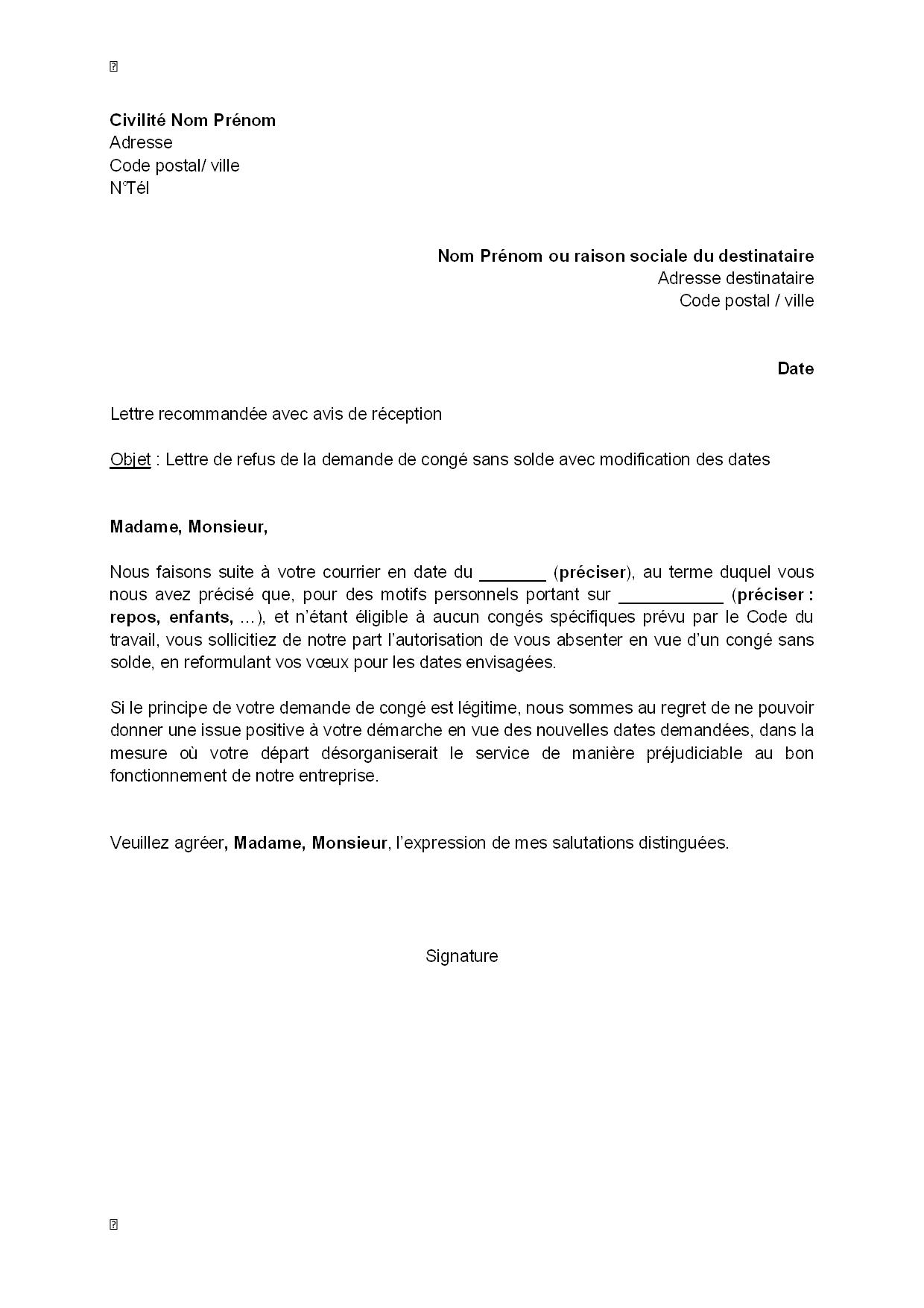 lettre de refus  par l u0026 39 employeur  de la demande de cong u00e9