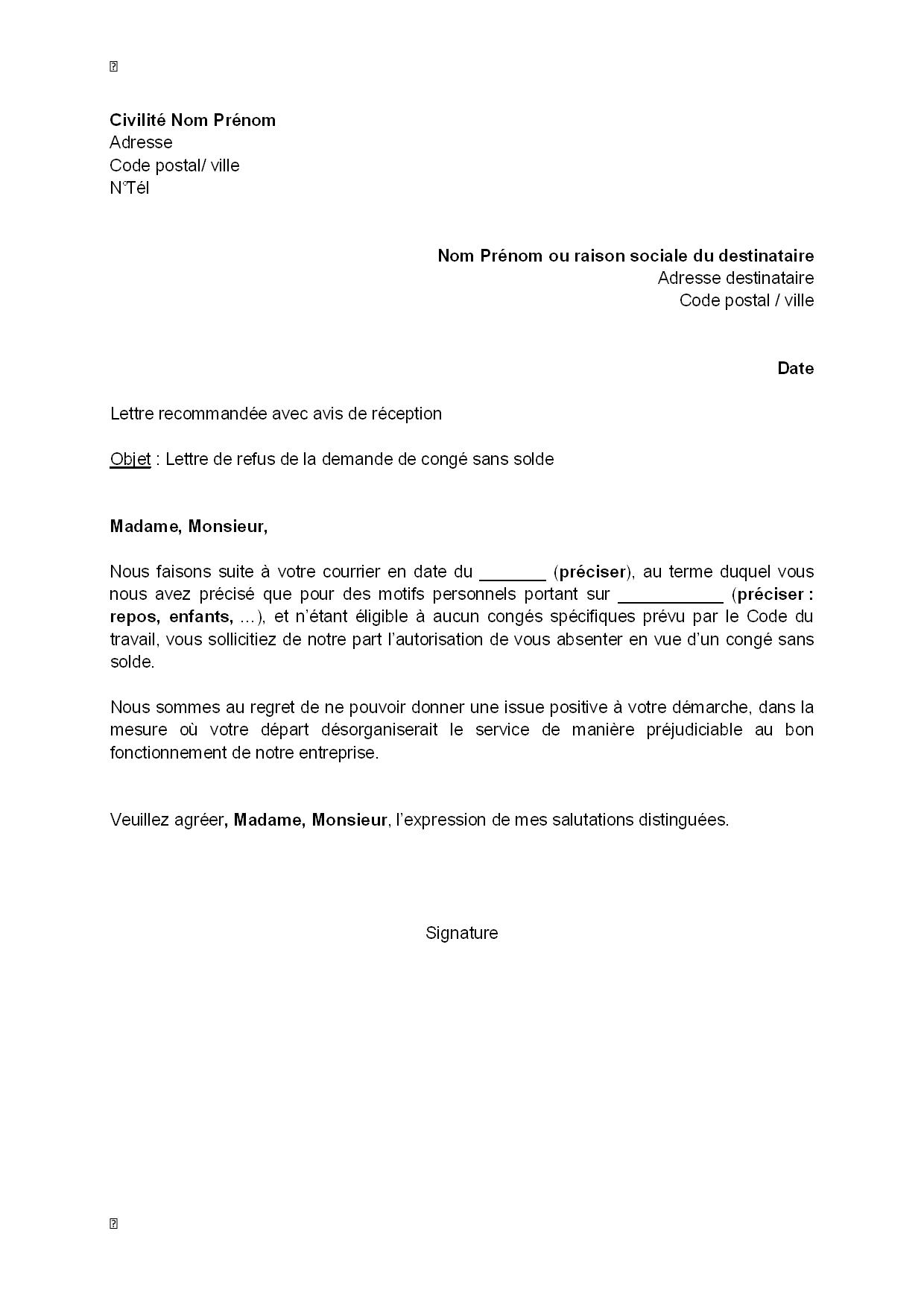 modele lettre demande de congé sabbatique Exemple gratuit de Lettre refus, par employeur, demande congé sans  modele lettre demande de congé sabbatique